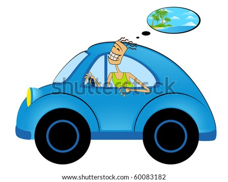 Vector cartoon happy man on car on white background