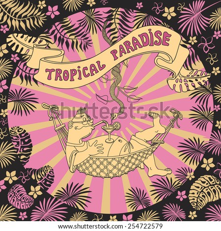Vector cartoon humorous illustration of tropical vacations. A man in a hammock with a glass of tipple and a snake hung from palm. - stock vector