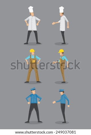 Vector cartoon icons of three occupations, chef, construction worker and security guard in uniform and head wear, standing in front and profile view. - stock vector