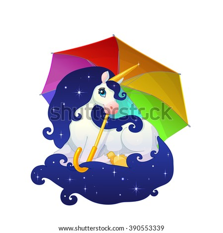 vector Cartoon illustration Beautiful Space Unicorn under rainbow umbrella. long blue starry mane, tail Golden hoof, horn Legendary creature Clip art isolated on white background. ABC letter U. EPS 10 - stock vector