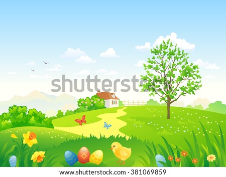 Vector cartoon illustration of a beautiful Easter country scenery - stock vector