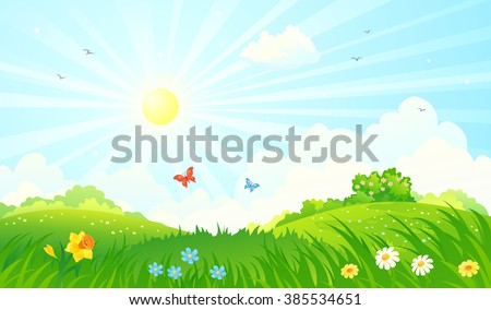 Vector cartoon illustration of a beautiful spring sunny meadow - stock vector