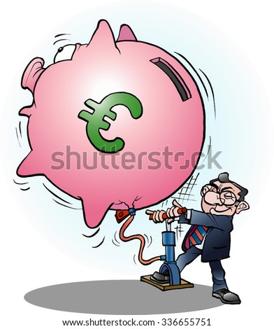 Vector cartoon illustration of a businessman inflated economy Euro - stock vector