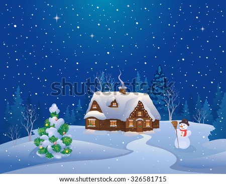 Vector cartoon illustration of a Christmas night scene with a snow covered house, cute snowman and decorated fir tree - stock vector