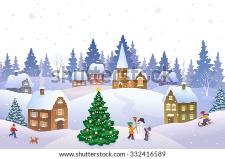 Vector cartoon illustration of a Christmas scene in a small snowy town with playing kids - stock vector