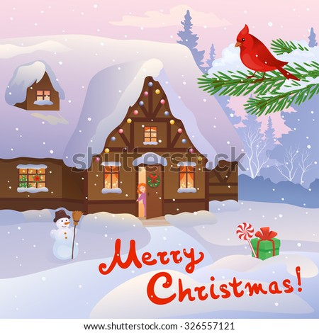 Vector cartoon illustration of a cozy Christmas cottage and a little girl at the door, with handwritten Merry Christmas text - stock vector