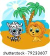Vector cartoon illustration of a cute lion and zebra - stock photo