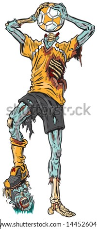 Vector cartoon illustration of a decayed zombie soccer player who has confused the ball for his missing head. - stock vector