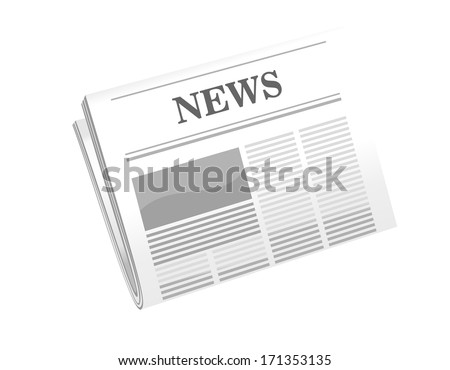 Vector cartoon illustration of a folded newspaper with the header News isolated on white