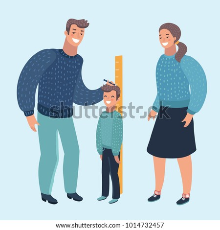 Vector Cartoon Illustration Mom Dad Measuring Stock Vector - Current height