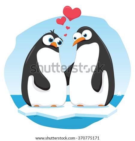 vector cartoon illustration of a penguin couple - stock vector