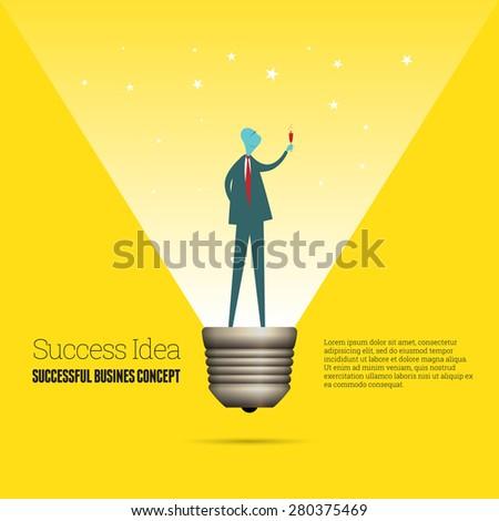 Vector cartoon illustration of a successful businessman as a lightbulb. - stock vector