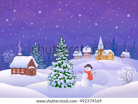 Vector cartoon illustration of a winter night scene with a cute snow man decorating a Christmas tree in a small snowy town, greeting card background