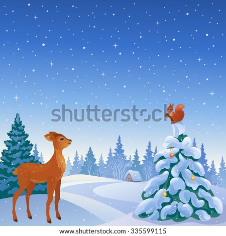 Vector cartoon illustration of a winter scene with cute reindeer and squirrel in woodland - stock vector