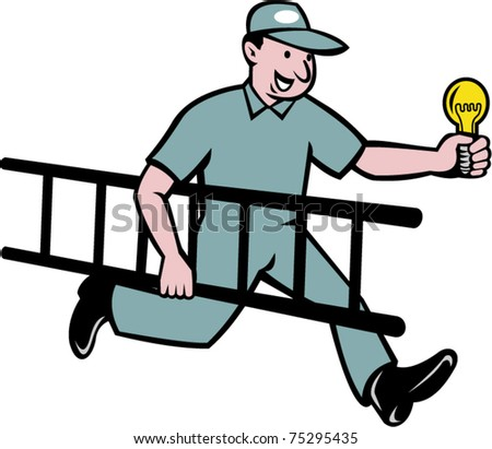 vector cartoon illustration of an Electrician running holding light bulb and ladder isolated on white background.