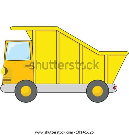 Vector cartoon illustration of an orange and yellow dump truck. For jpeg version, please see my portfolio.