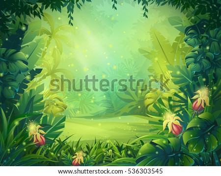 Vector cartoon illustration of background morning jungle. Bright jungle with ferns and flowers. For design game, websites and mobile phones, printing.