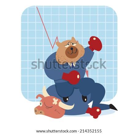 vector cartoon illustration of bear win over bull in stock market   - stock vector