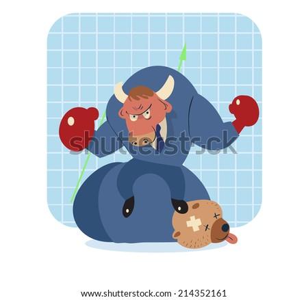 vector cartoon illustration of bull win over bear in stock market  - stock vector
