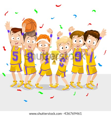 Vector cartoon illustration of college basketball team winning the grand trophy