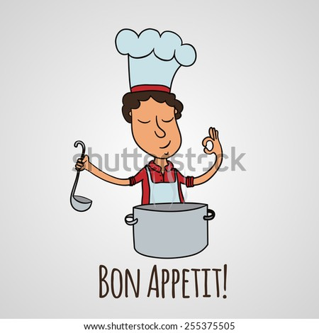 Vector cartoon illustration of cooking man and text  Bon appetit.  For restaurant menu, recipes. EPS 10 - stock vector