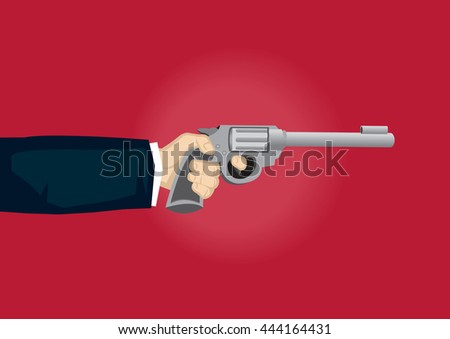 Vector cartoon illustration of hand pulling gun trigger isolated on red background. - stock vector