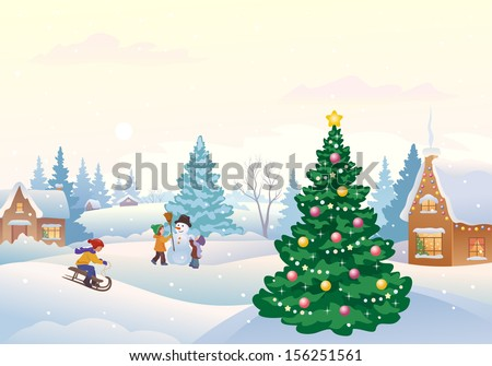 Vector cartoon illustration of kids making a snowman and other winter fun outdoors at snowy day