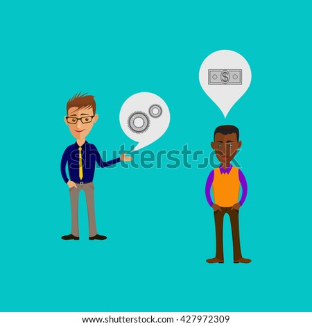 Vector cartoon illustration of men or guys characters. Business info graphic or advertising template. Communication concept. Two characters is having a discussion.
