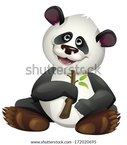 Vector cartoon illustration of panda eating bamboo