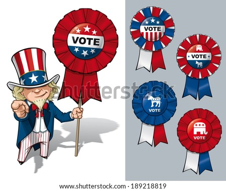 Vector Cartoon Illustration of Uncle Sam holding a Vote ribbon - banner - badge. All options are in-place neatly in well described groups and layers - stock vector