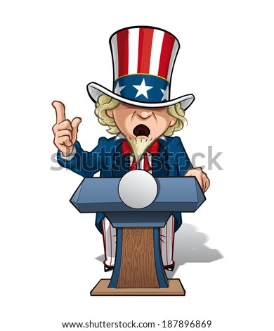 Vector Cartoon Illustration of Uncle Sam on the podium, giving a speech with intense expression. - stock vector