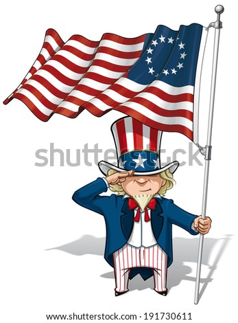 Vector Cartoon Illustration of Uncle Sam saluting and holding a Betsy Ross American flag. - stock vector