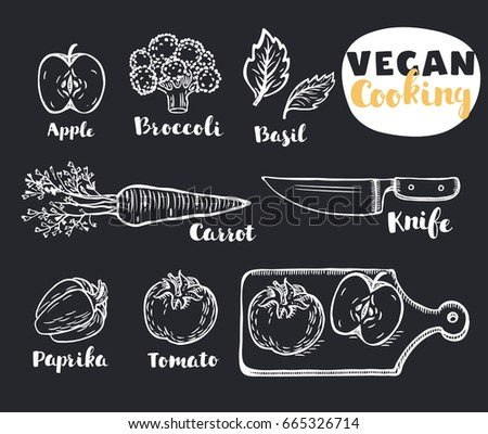 Vector Cartoon Illustration Of Vegetables Eco Vegan Set Chalk Hand Outline Drawn Doodle Style Lettering