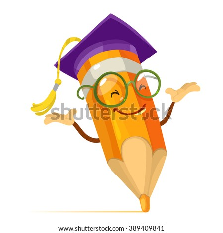 Vector cartoon illustration orange pencil mascot character with glasses and a hat of the graduate - stock vector