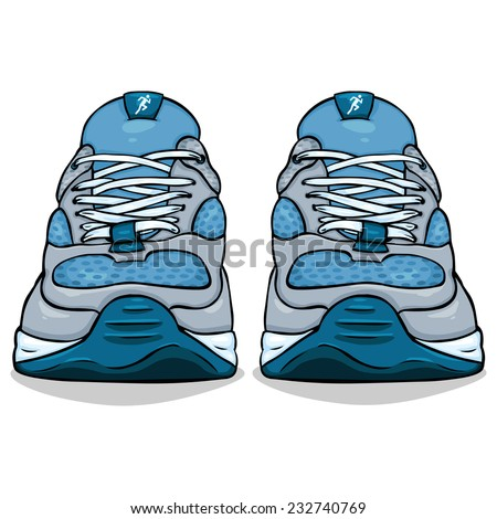 Vector Cartoon Illustration - Single Blue Running Shoes. Front View. - stock vector
