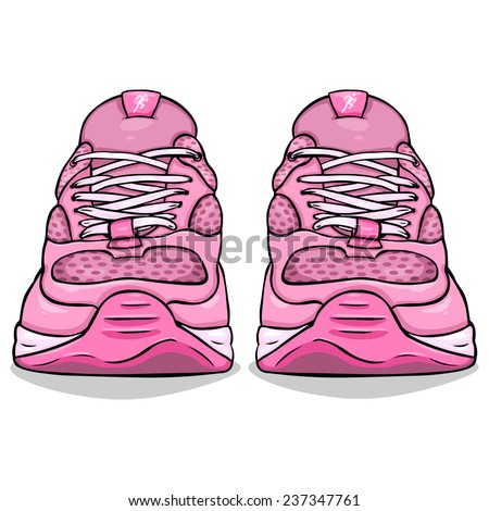 Vector Cartoon Illustration - Single Running Shoes. Front View. - stock vector