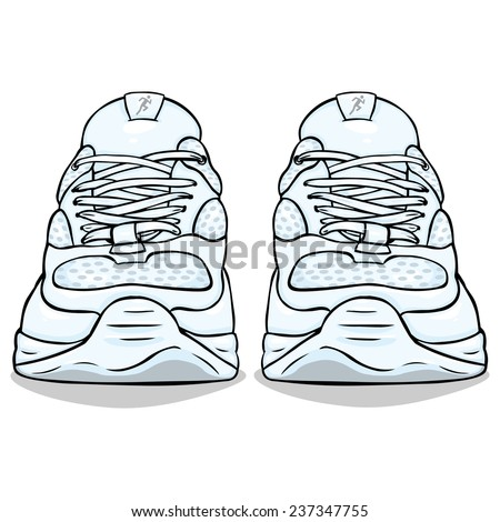 Vector Cartoon Illustration - Single White Running Shoes. Front View. - stock vector