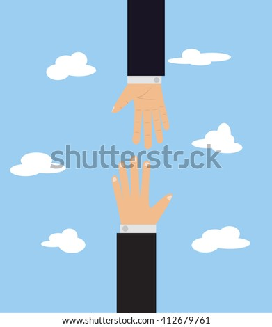 Vector cartoon illustration with two hands on blue background. Help other people. Business partnership. Helping hands. Business relationship. Financial deal. Business deal. Approving a contract.