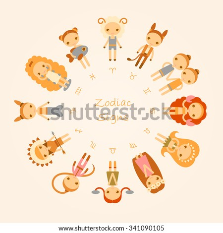 vector cartoon illustrations of the twelve Zodiac Signs Aries, Taurus, Gemini, Cancer, Leo, Virgo, Libra, Scorpio, Sagittarius, Capricorn, Aquarius, Pisces - stock vector