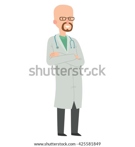 Vector cartoon image of a bald man doctor with a beard in glasses, in white medical coat, black trousers with stethoscope around his neck, standing and smiling on a white background. Health, treatment - stock vector