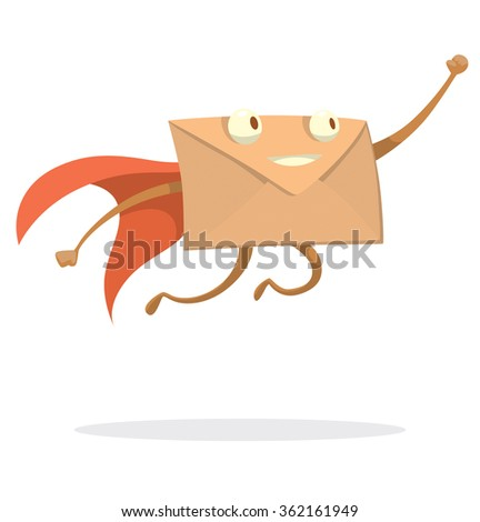 Vector cartoon image of a beige envelope with eyes, arms and legs in a red cape flying swiftly to the destination on a white background. Express letter. Icon e-mail. Vector illustration. - stock vector