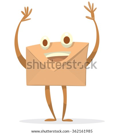 Vector cartoon image of a beige envelope with eyes, arms and legs standing on a white background. An ordinary letter. Icon e-mail. Vector illustration. - stock vector