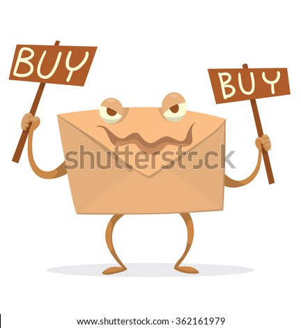 """Vector cartoon image of a beige envelope with eyes, arms and legs with two brown banners with words """"Buy"""" in the hands standing on a white background. Spam letter. Icon e-mail. Vector illustration. - stock vector"""