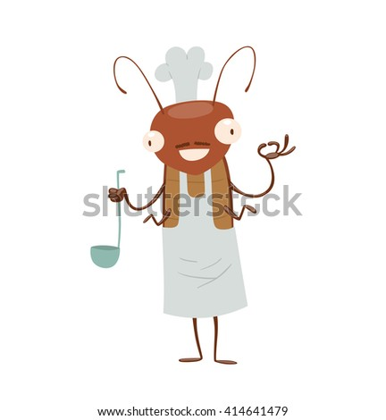 Vector cartoon image of a funny brown cockroach with antennae and six legs in white apron, chef's hat with a ladle in paw on a white background. Anthropomorphic cartoon cockroach. Vector illustration. - stock vector
