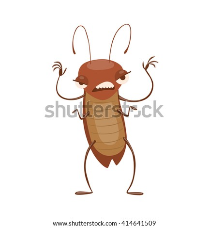Vector cartoon image of a funny brown cockroach with antennae and six legs standing and frightening someone on a white background. Anthropomorphic cartoon cockroach. Vector illustration. - stock vector