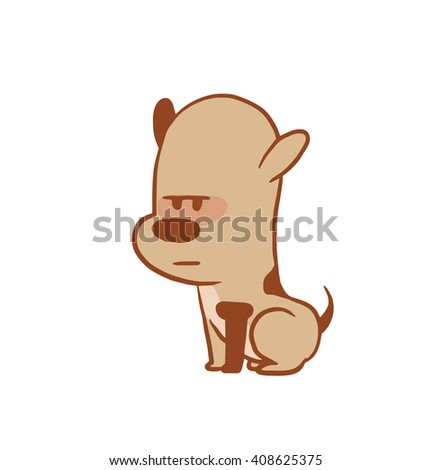 Vector cartoon image of a funny little dog light brown color sitting serious on a white background. Color image with a brown tracings. Puppy. Positive character. Vector illustration.
