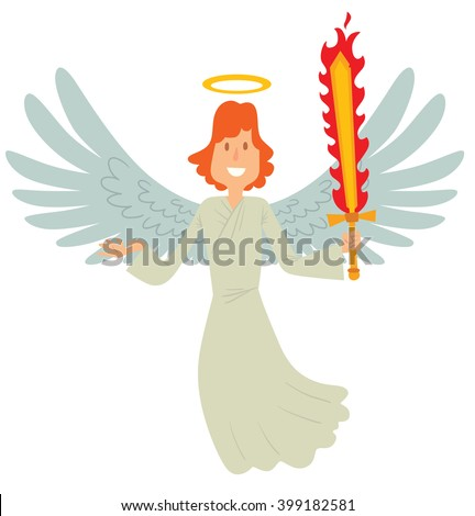 Vector cartoon image of a male angel. Male angel with red hair in white chasuble. Angel with big white wings and a golden halo over his head. Angel with a flaming sword in his hand. Archangel Michael. - stock vector