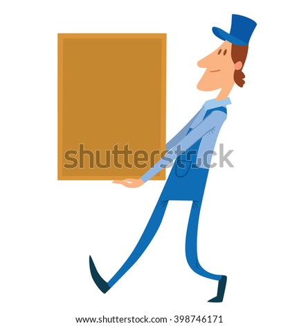 Vector cartoon image of a porter man with bright brown hair. Man in blue overalls and cap. Porter man is carrying a large rectangular yellow box in his hands. Cartoon loader man. Vector illustration.  - stock vector