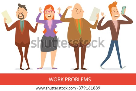 Vector cartoon image of a set of business people - men and a woman, different looks, in different clothes standing frustrated in various poses on a white background. Work problems. Vector illustration - stock vector
