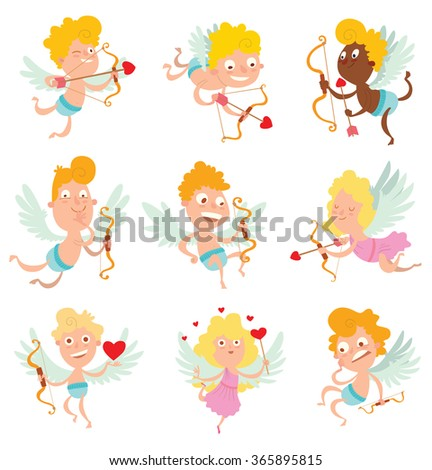 Vector cartoon image of a set of cute little cupids, boys and girls in different clothes and different poses on a white background. Valentine's Day. Vector illustration. Holiday, joy, fun. Card.